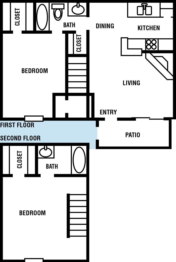 Two Story Houston Apartment Northpointe Village 2 bed 2 bath Floor Plan 1048 sq ft