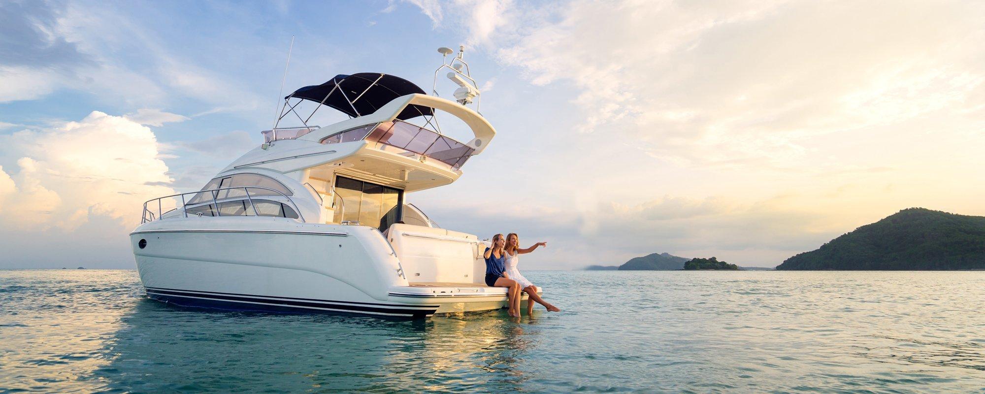 two girls enjoying on boat