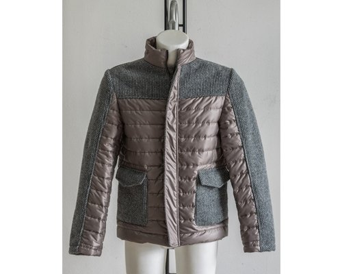 Boiled wool and quilted jacket