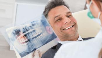 radiografia, dentista, paziente, sorriso