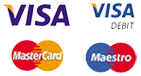 VISA, VISA Debit, MasterCard and Maestro logos