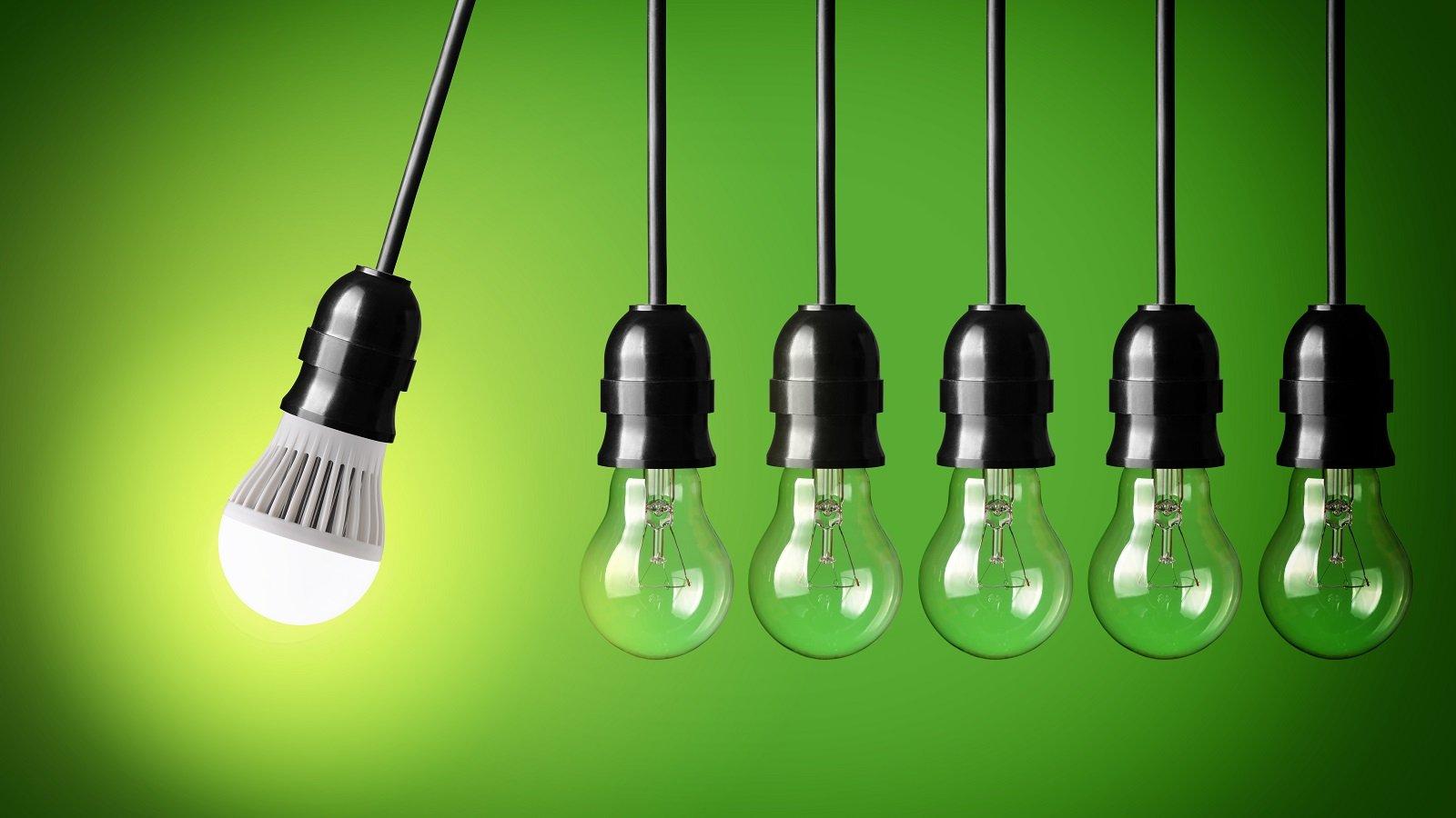lampadine su sfondo verde