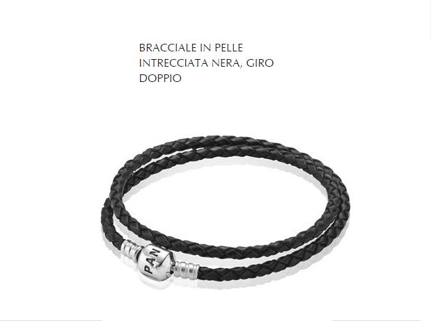 BRACCIALE IN PELLE INTRECCIATA NERA, GIRO DOPPIO