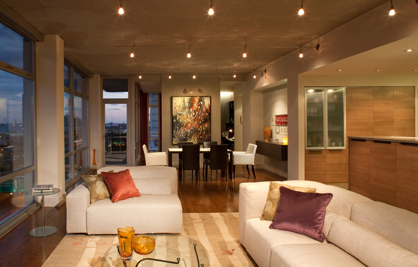 picture of Philadelphia loft shows Interior renovation with view of living room