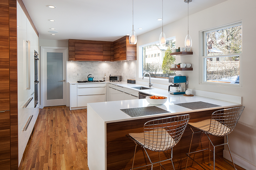 The kitchen was remodeled to suit the more modern style the owners were looking to achieve,
