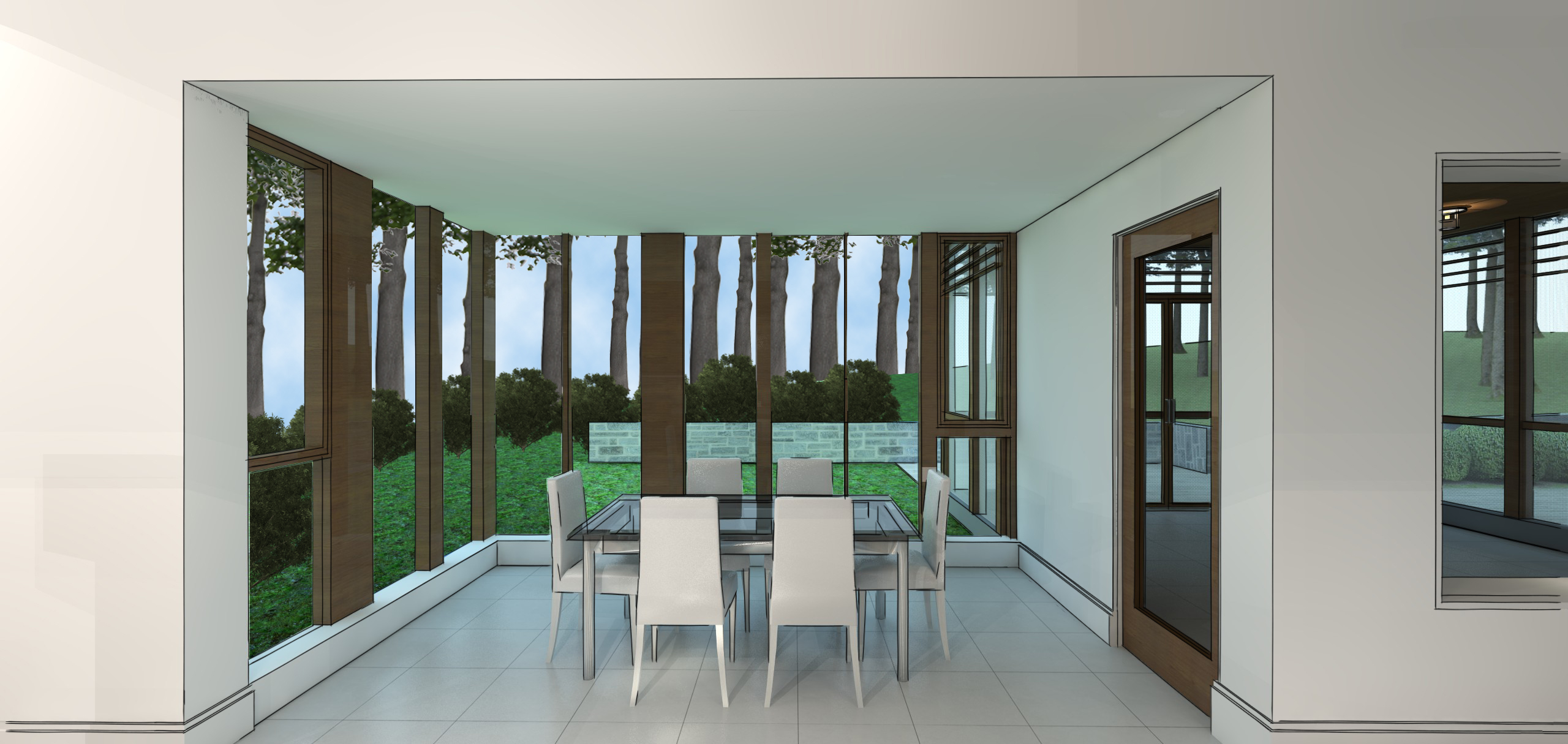 Modern residential architecture. In the breakfast room, the varying widths of posts between windows mimics the tree growth patterns beyond.