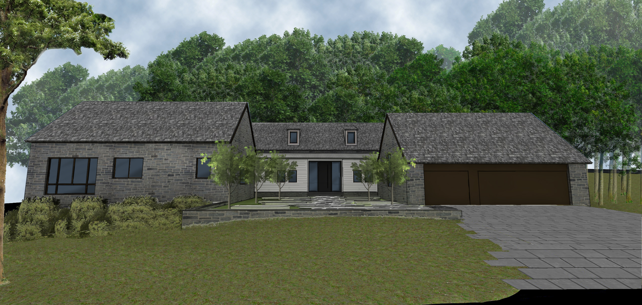 Exterior rendering of main entrance. modern residential architecture