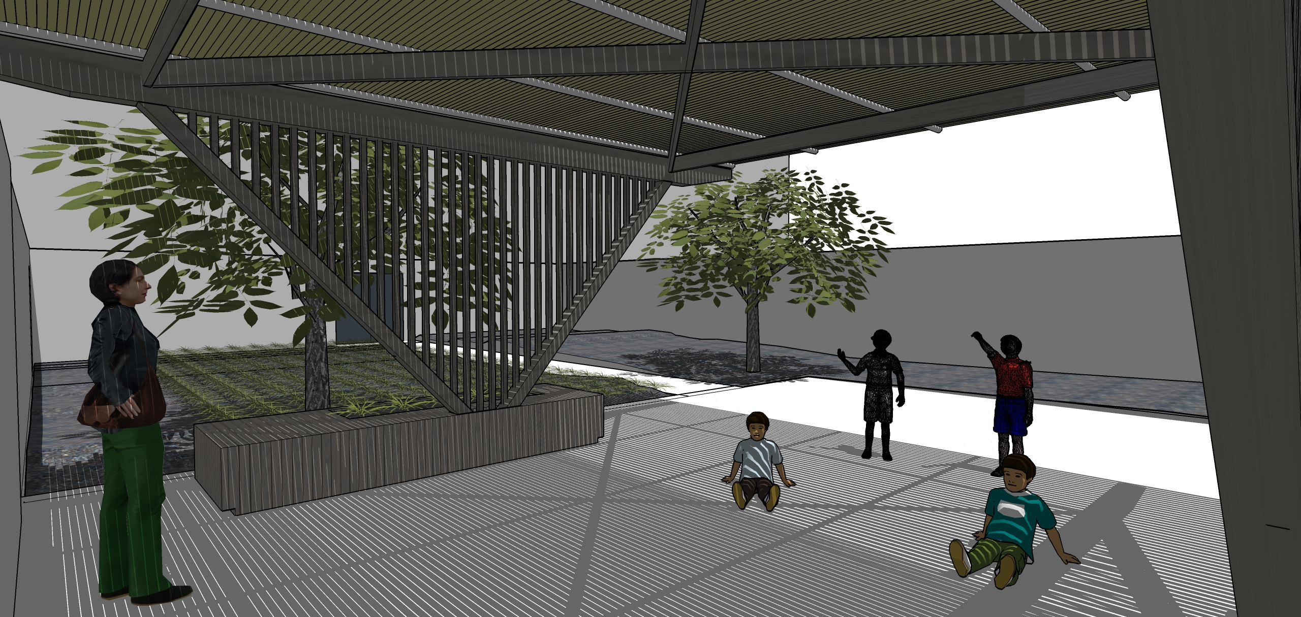 A bamboo pole roof is supported by wood beams and steel structural posts emerging from planter benches.