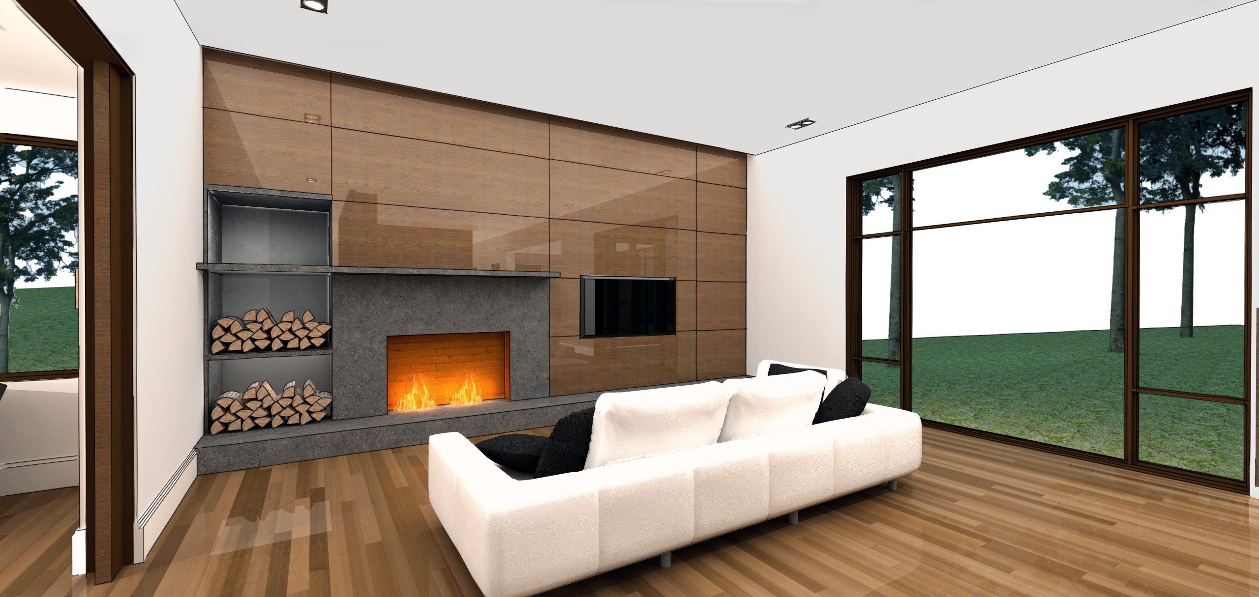 modern residential architecture. One of two fireplaces in the house anchor the long axis of the main living spaces.