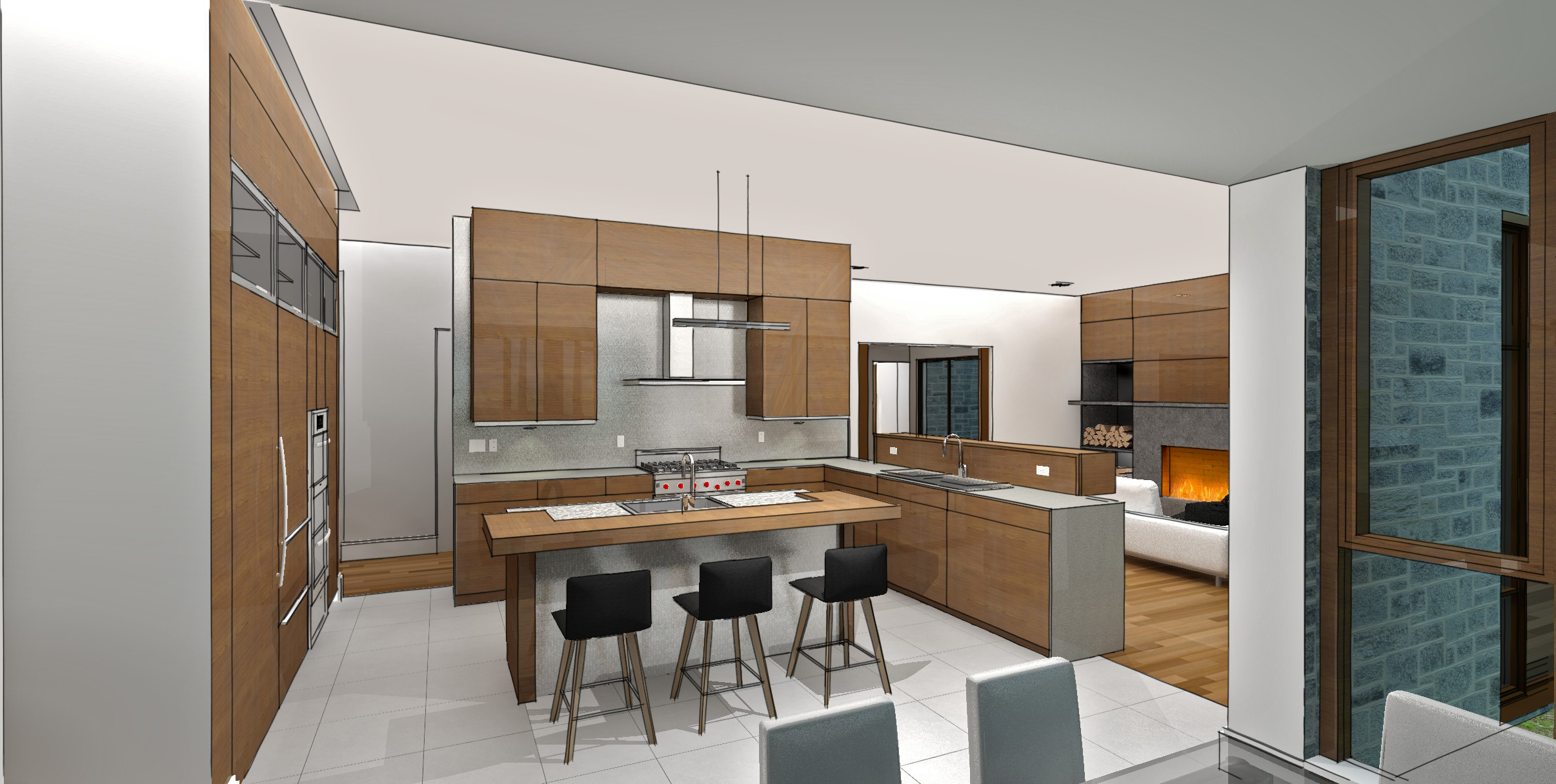 modern residential architecture. Kitchen opens to breakfast area and family room.