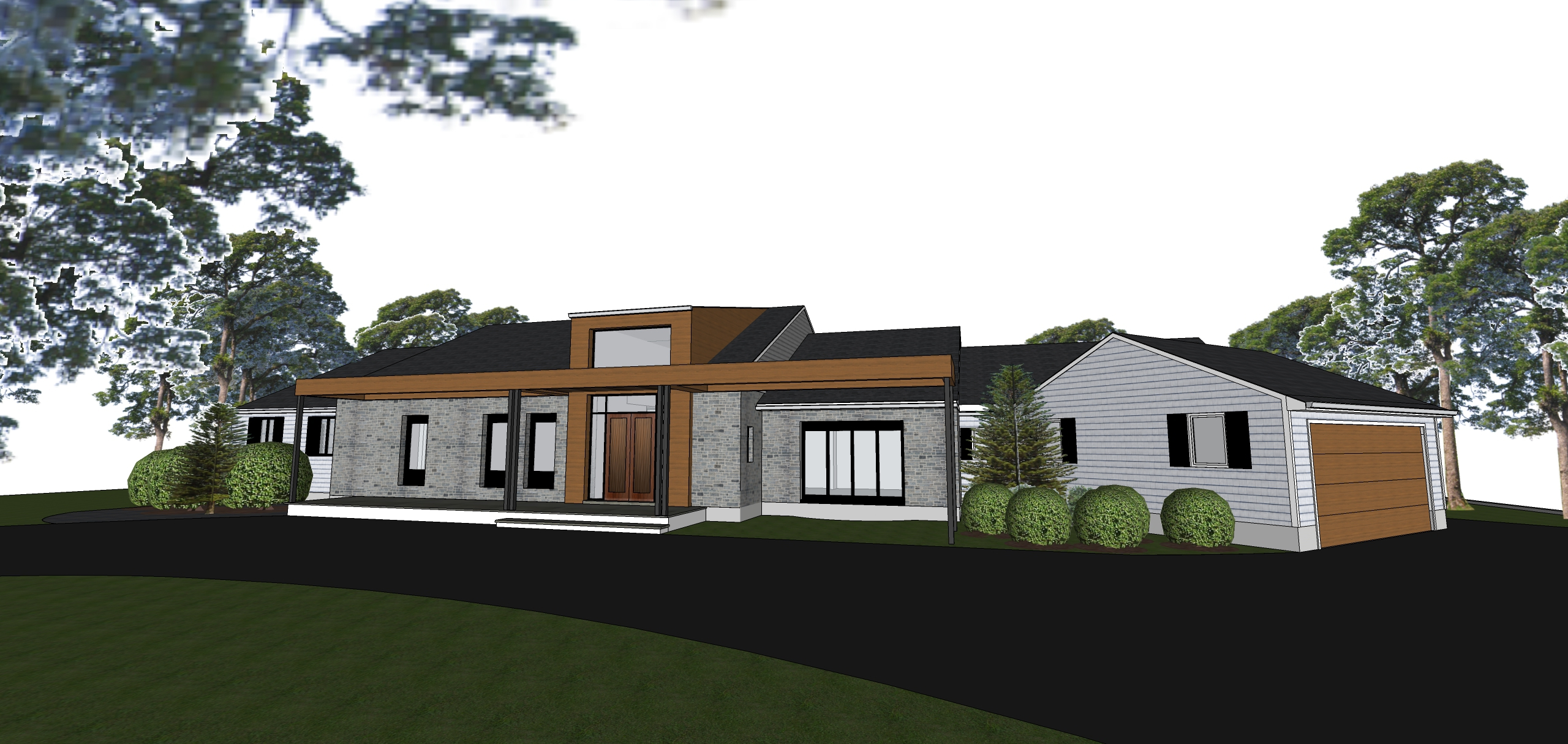 Proposed Exterior Front A redesigned front creates a more modern impression and better harmonizes with the interior.