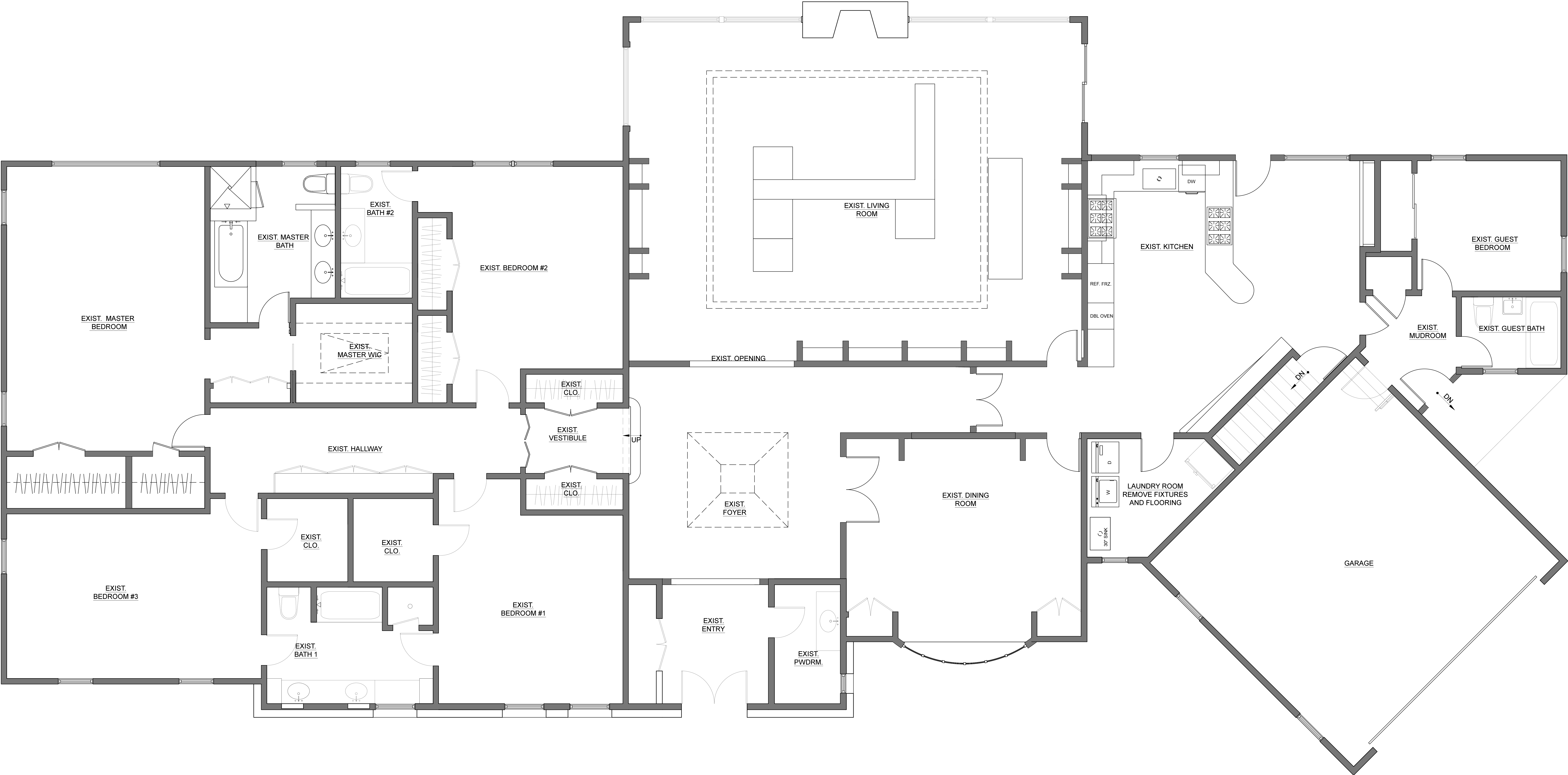 Ground level existing plan This 1970's ranch house presents quite a different face to the street than  what would be expected on the inside, However, even the interior does not take advantage of the potential of the space. For the needs of a modern family, the kitchen is quite separated from the living spaces.