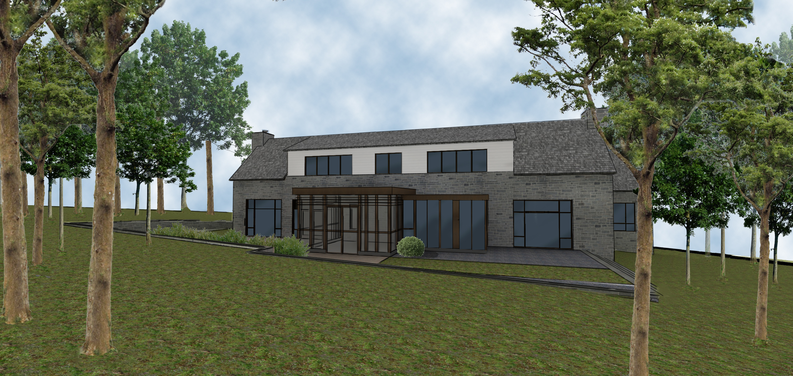 modern residential architecture. Exterior rendering showing the back of the house. This features the screened in porch and breakfast room along with the patio.