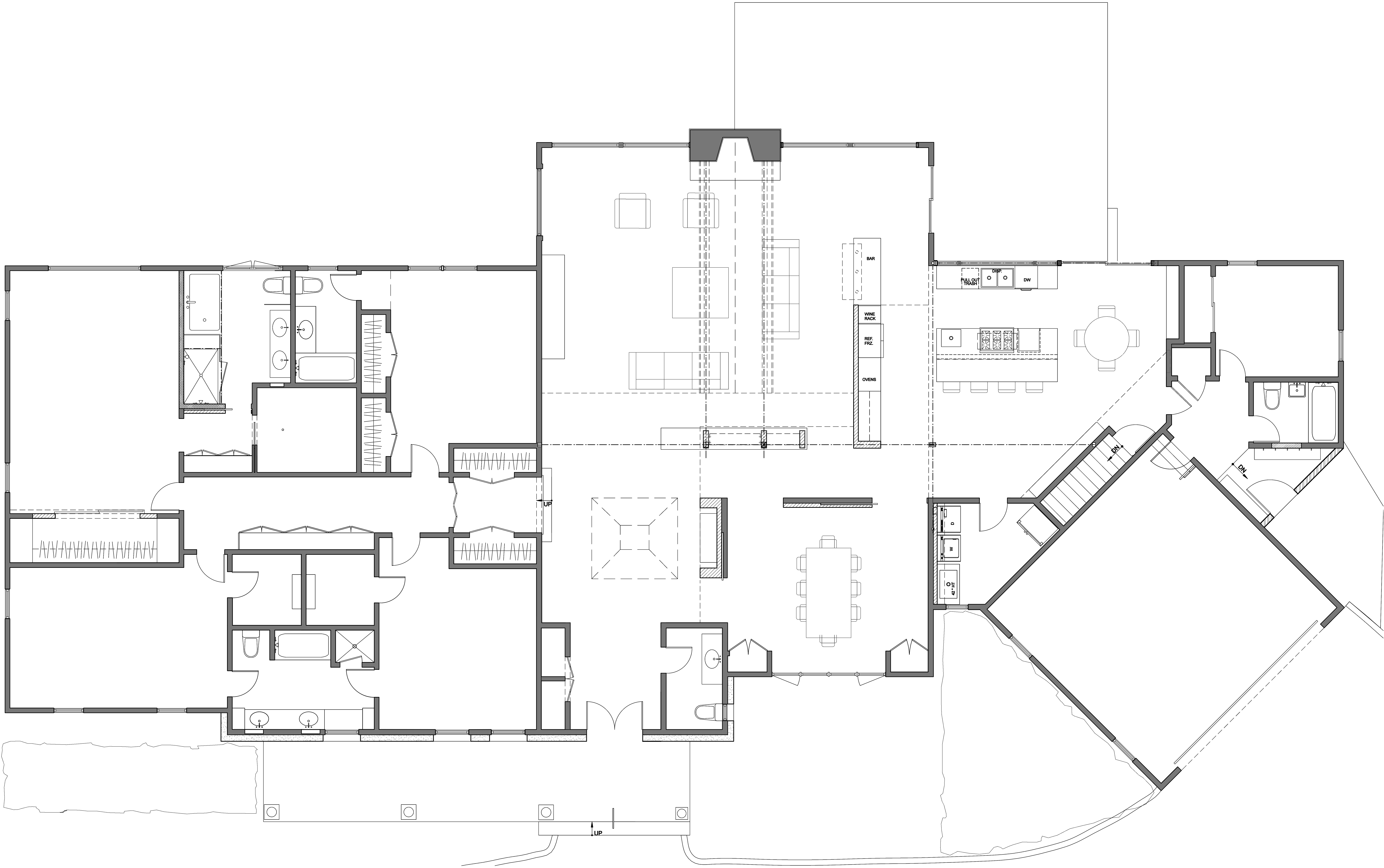 Ground level proposed plan The kitchen will be expanded into the oversized living room, and reconfiguration of openings between foyer, dining room,  kitchen and living room will create an open plan that will be suitable for the frequent entertaining planned by this family