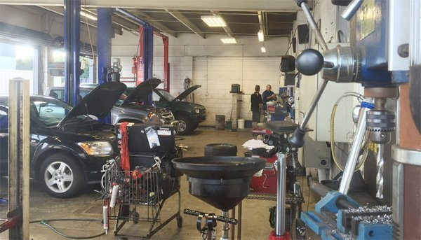 Automobiles being repaired at the service centre