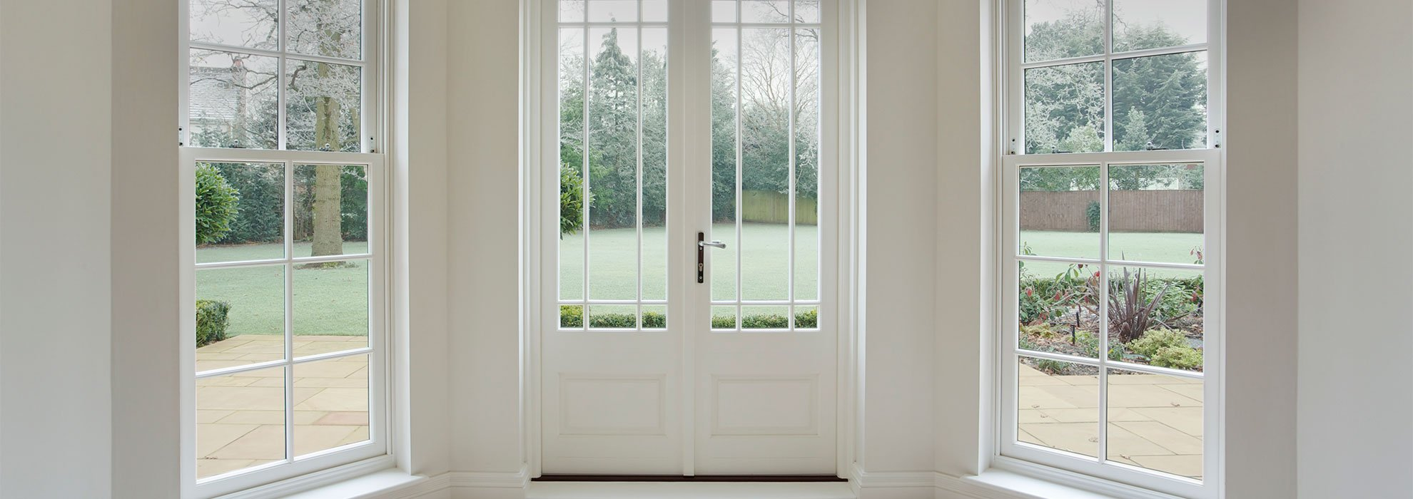 white frame windows and doors