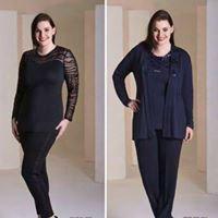 due immagini di una donna con dei vestiti neri e blu scuri