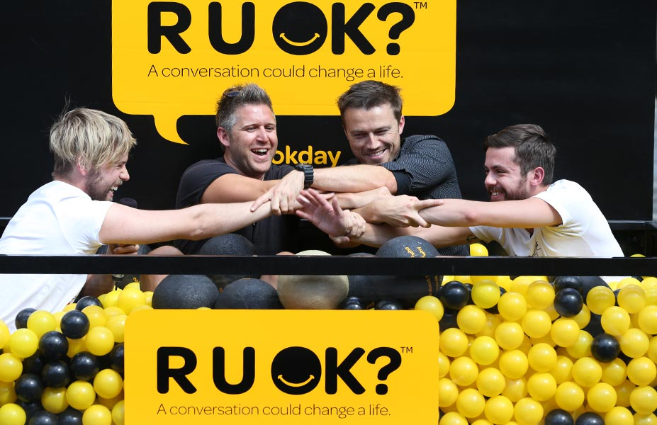 R U OK? Supporters in the ball pit