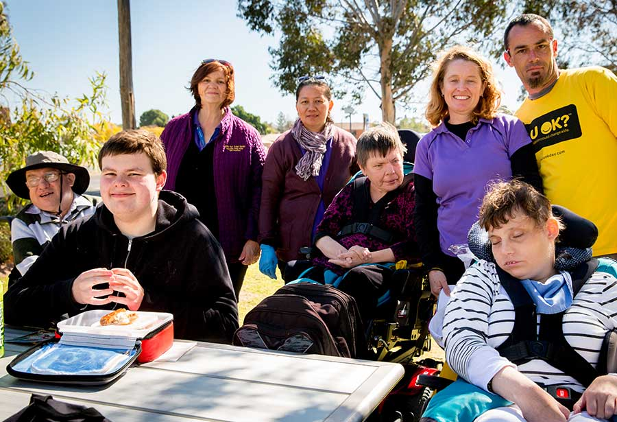 Group of RUOK supporters with disabled people
