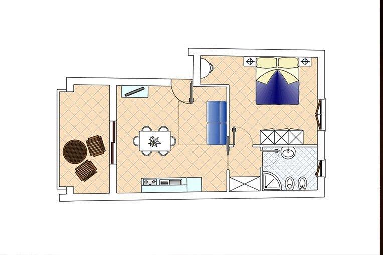 La pianta dell'appartamento con indicate la suddivisione interna e l'arredo