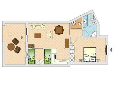 Mappa trilocale con veranda
