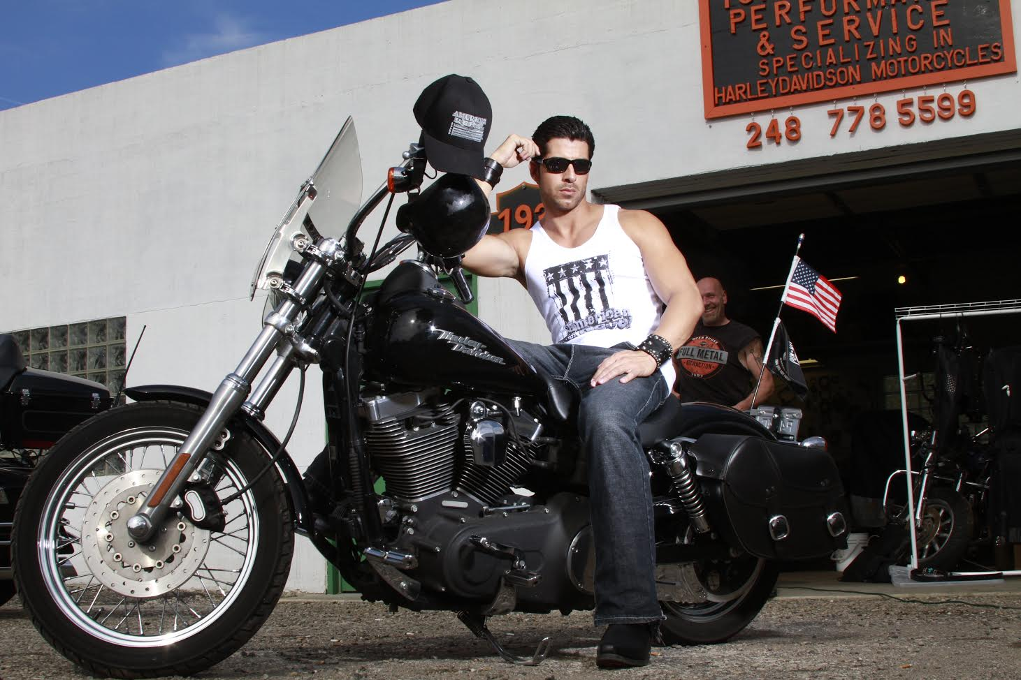 American Rebel on a Motorcycle