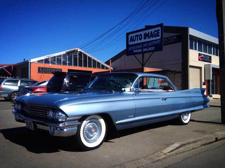 old light blue car