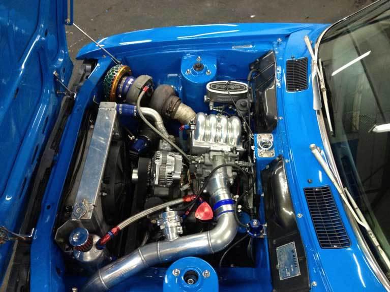 motor blue car