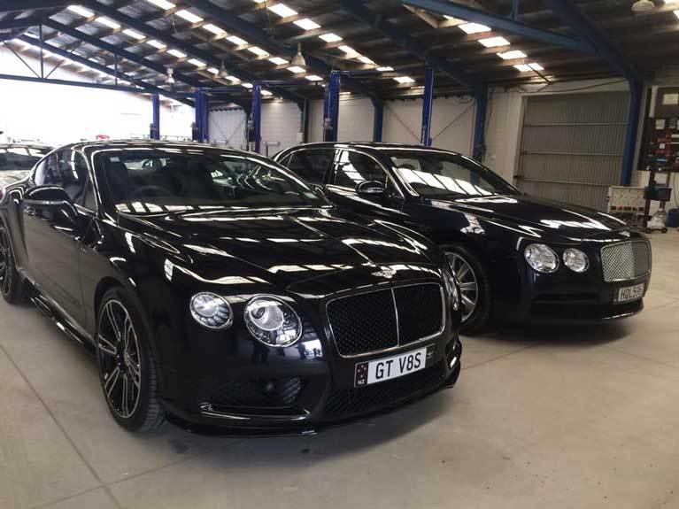 Dark luxurious cars