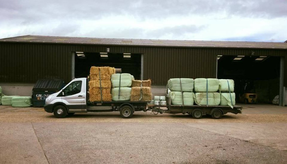 hay being transported