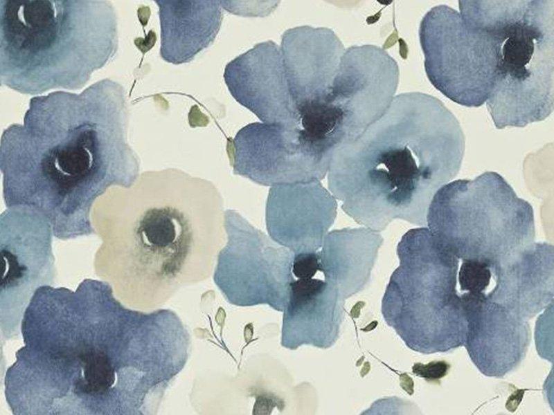 Carta da parati con fiori blu