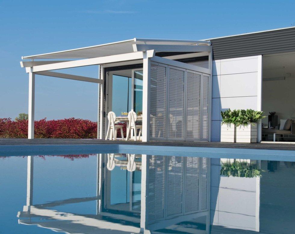 Struttura gazebo legno bianco per piscina