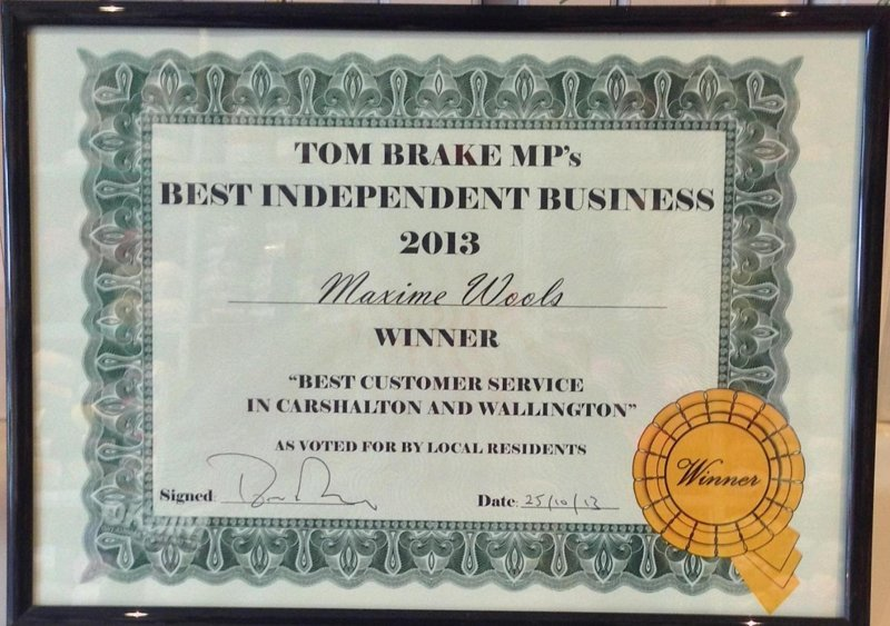 Best Independent Business 2013 certificate