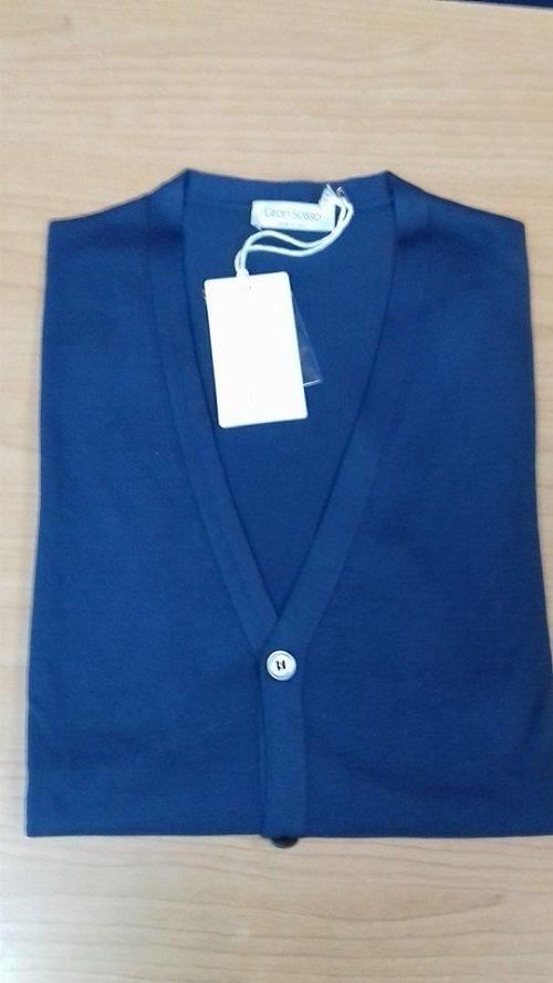 Jersey aperto blu con bottoni bianchi