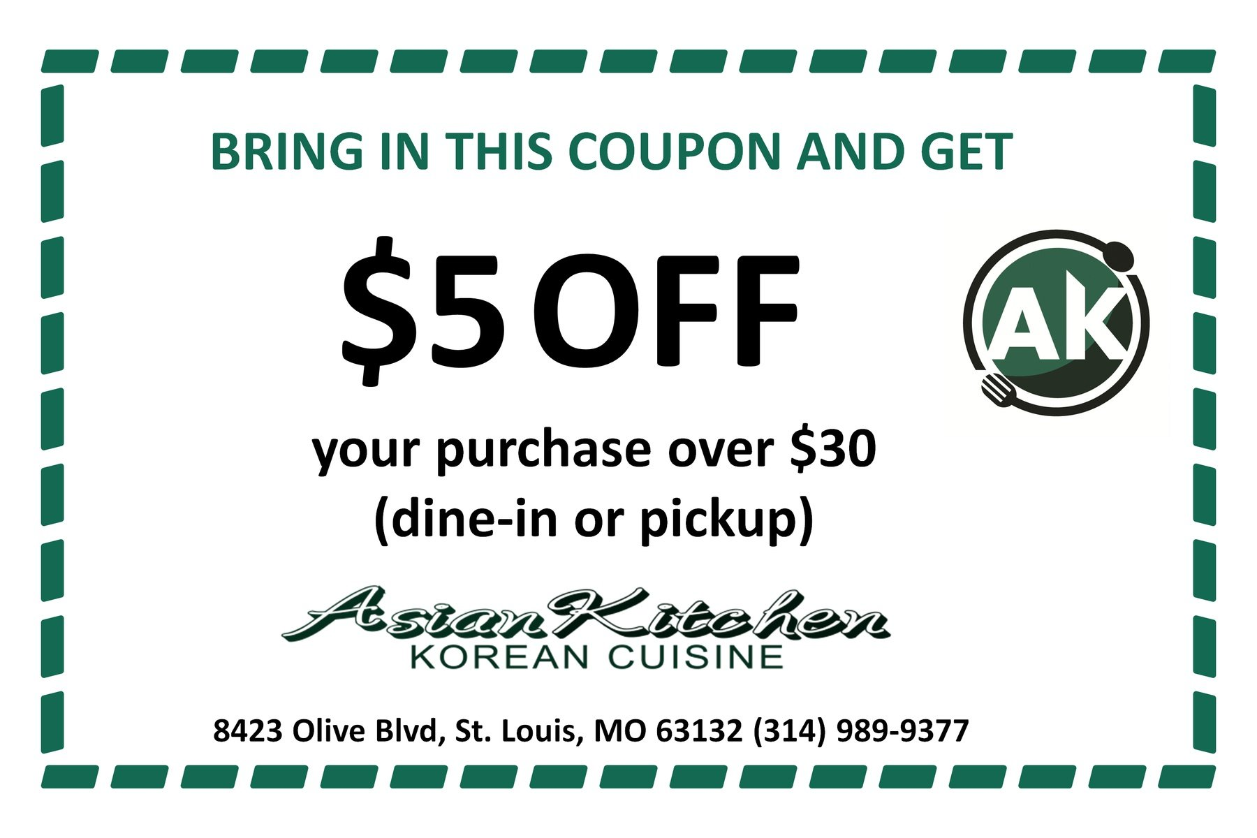 $5 Off Printable Coupon, Asian Kitchen Korean Cuisine in St. Louis