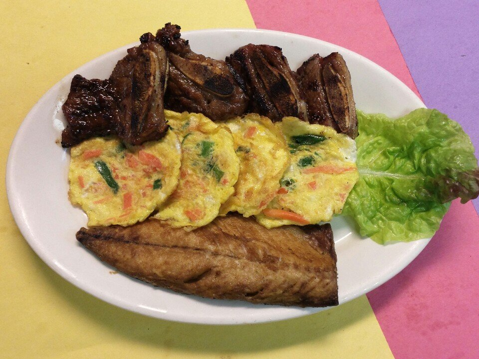 AK Special - Kalbi, Grilled Mackerel, Vegetable Pancake Combo at Asian Kitchen Korean Cuisine St Louis