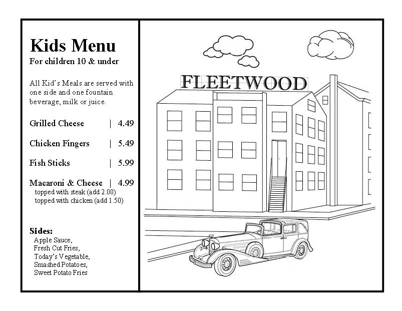 Klinger's Fleetwood Grille Kids Menu