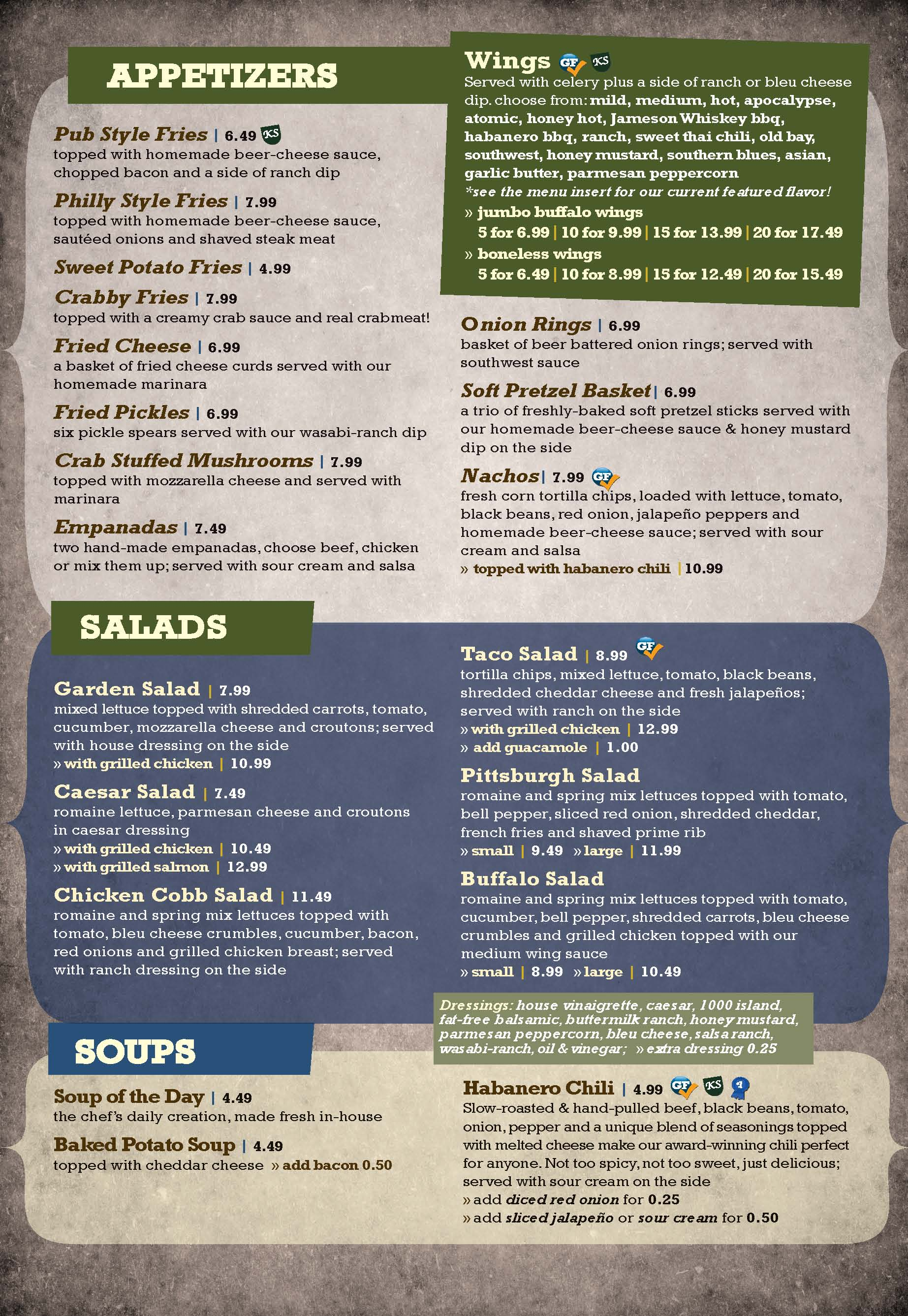 Klingers at the Airport Menu Page 1