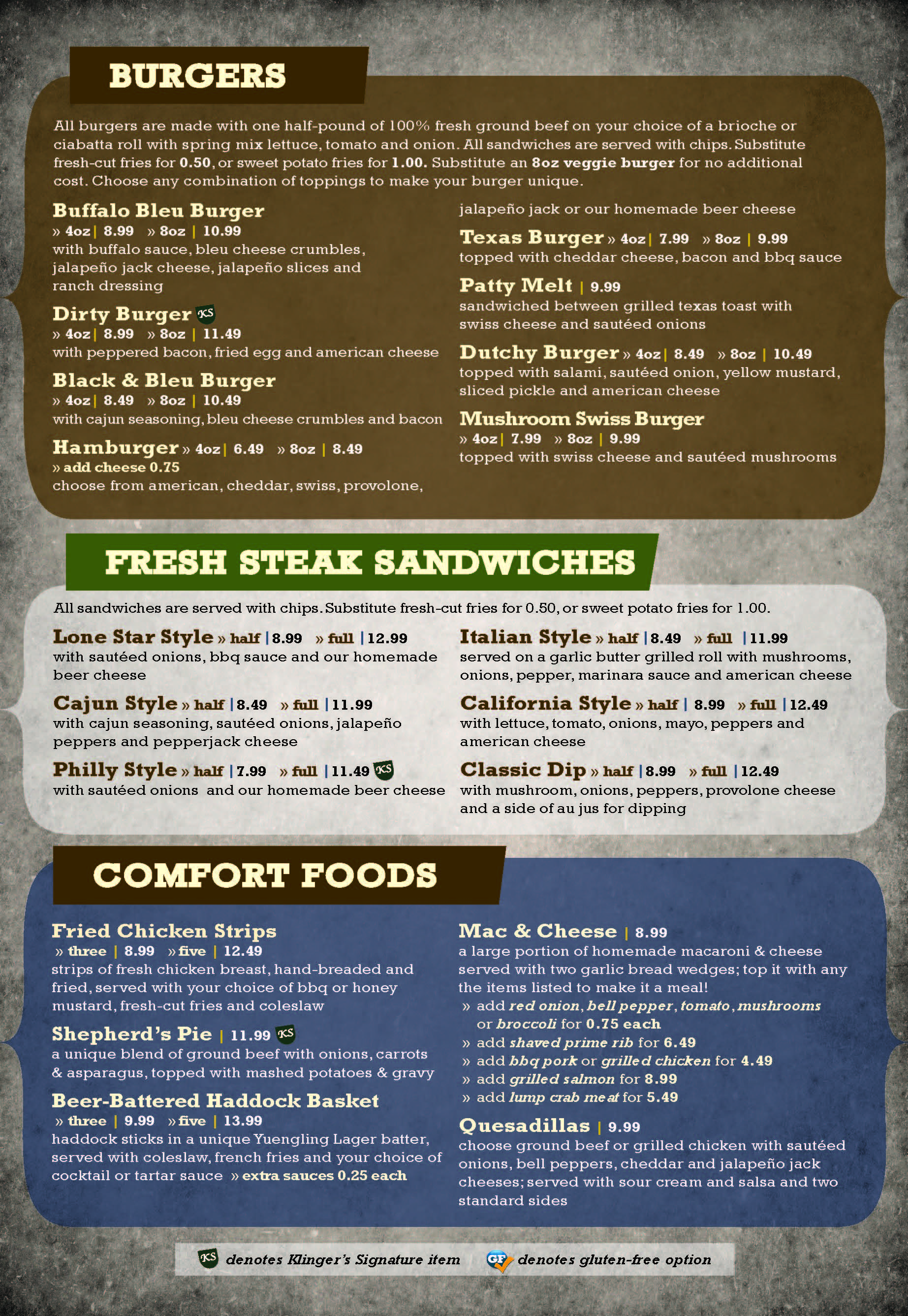 Klingers at the Airport Menu Page 2