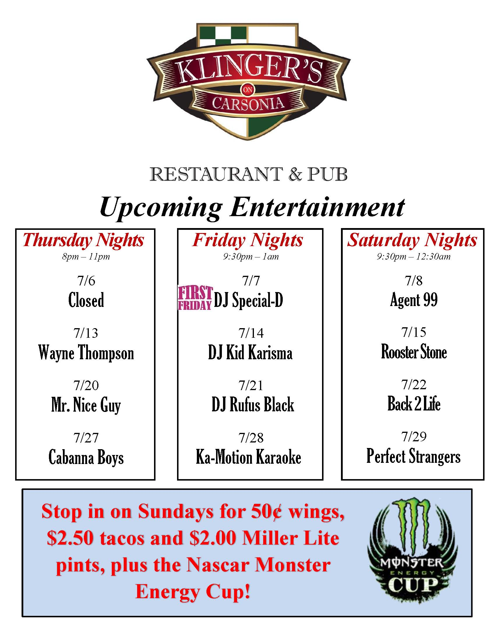 July Weekend Entertainment
