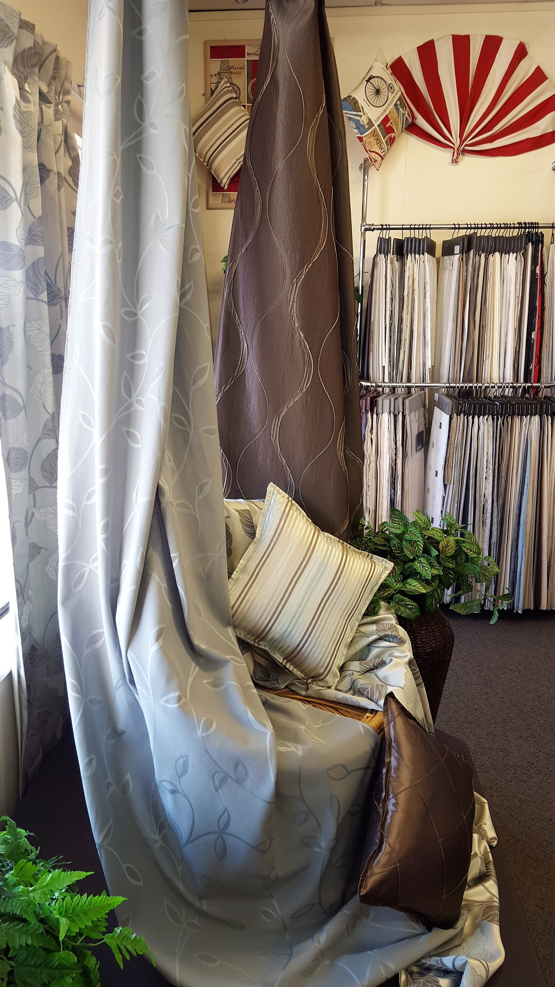 Range of curtains at the store