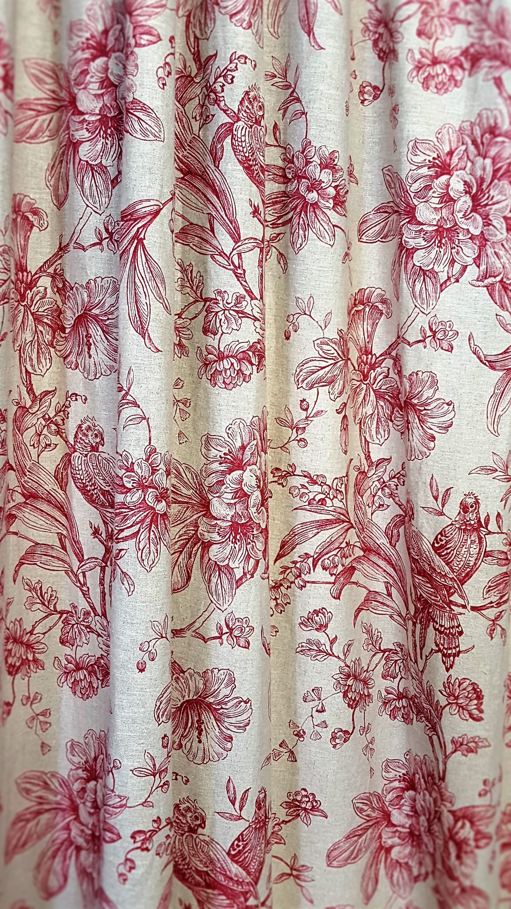 Installed printed curtains