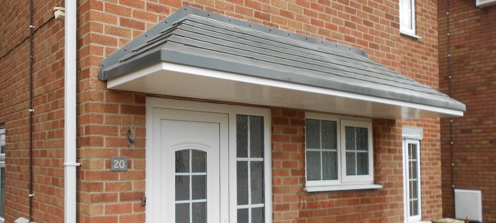 grey canopy for door