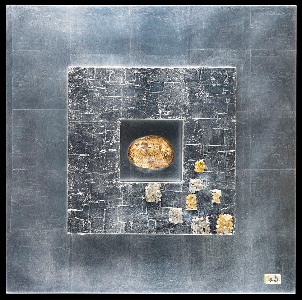 Quadro con quarzi e argento