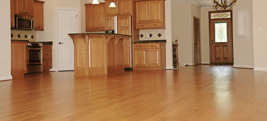 Large expanse of wood flooring at home