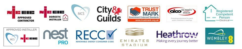 NICEIC, MCS, City & Guild, TrustMark, aico, Registered Competent Person, nest PRo, RECC, Emirates Stadium, Heathrow, Wembley