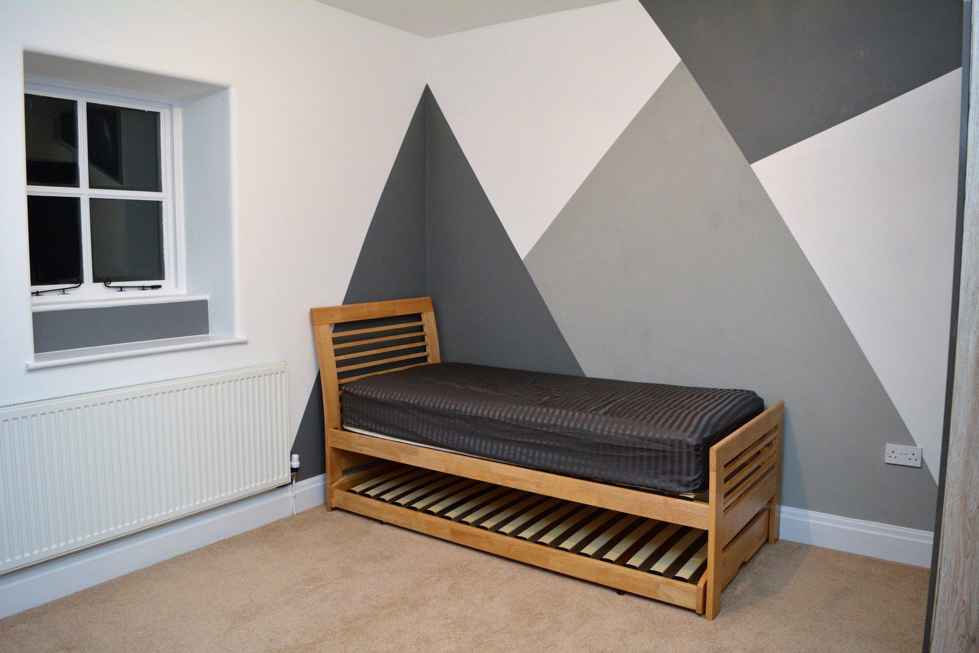 Shared Boys Geometrical Bedroom: Geometric Hand Painted Boys Room Makeover