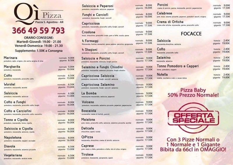 Menù della pizzeria da asporto QI Pizza ad Arezzo
