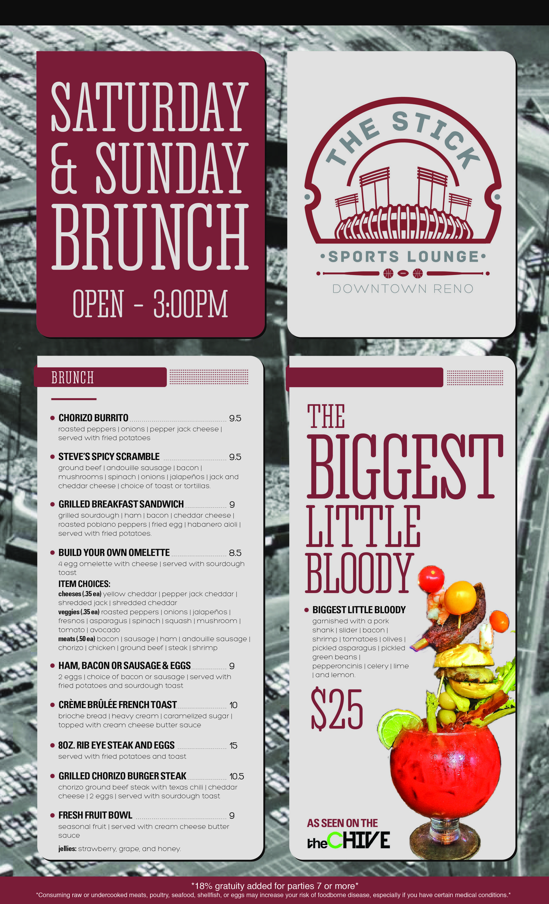 Brunch Menu for The Stick Sports Lounge