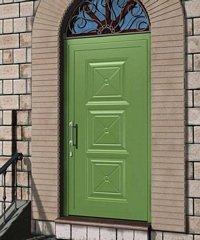 porta da esterno verde chiara con portico e pannelli in vetro